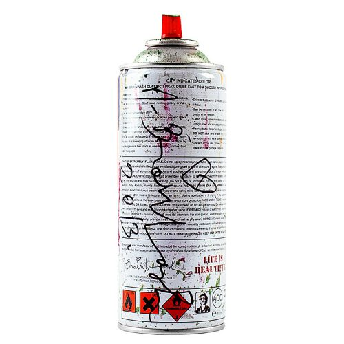 mr.brainwash spray can green showing back of can with artist signature and year