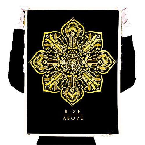 person holding up obey rise above screenprint