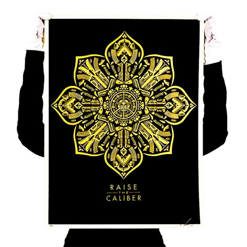 person holding up obey raise the caliber screenprint