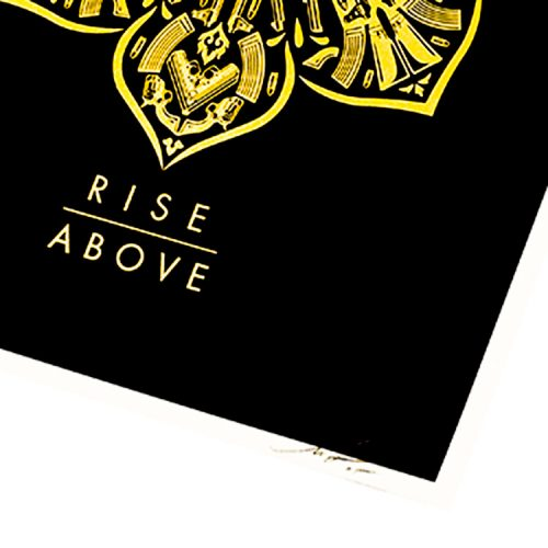obey rise above screenprint showing bottom right with artist signature