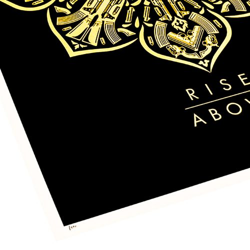 obey rise above screenprint showing bottom left of print with edition number