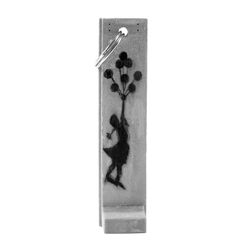 banksy girl with balloons sculpture key fob key chain
