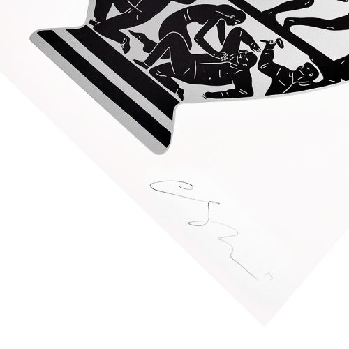 cleon peterson trump 2017 in white and platinum showing bottom right of print with artist signature