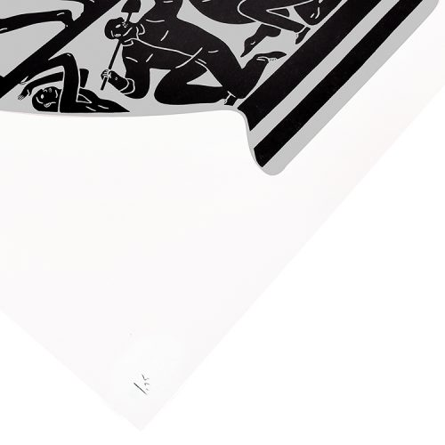 cleon peterson trump 2017 in white and platinum showing bottom left of print with edition number