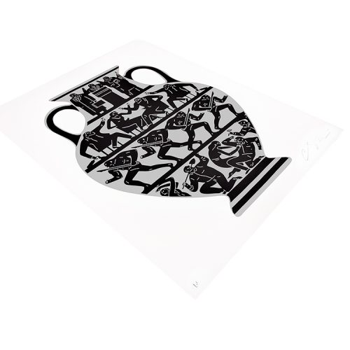 cleon peterson trump 2017 in white and platinum showing left side of print