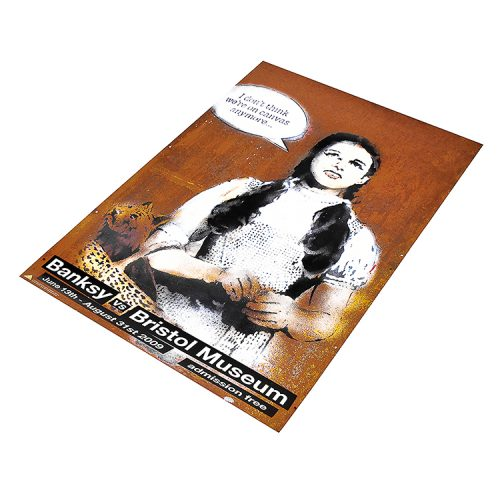 banksy dorothy poster from banksy vs bristol museum show from right side view