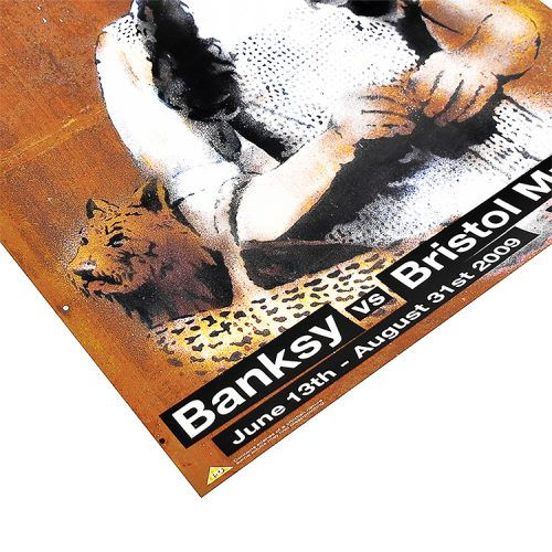 banksy dorothy poster from banksy vs bristol museum show bottom left of poster detail with exhibition info
