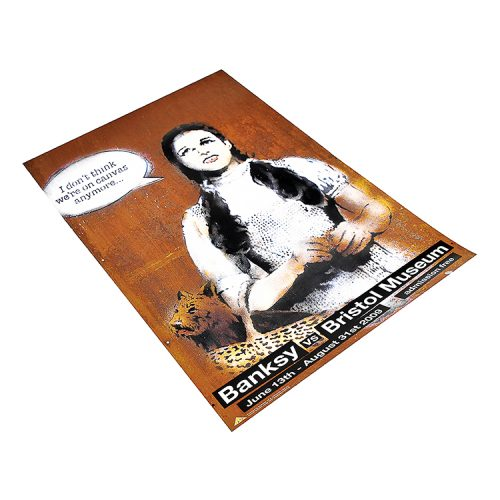 banksy dorothy poster from banksy vs bristol museum show from left side view