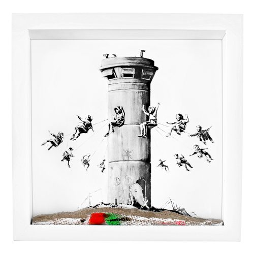 banksy walled off hotel box set with print and concrete base