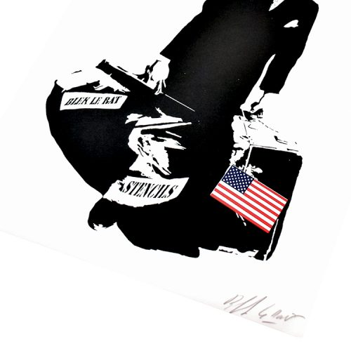 blek le rat the man who walks through walls print showing bottom right of print with Blek Le Rat signature