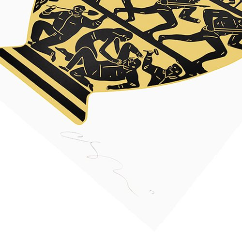trump 2017 white, gold and black screenprint showing bottom right with cleon peterson signature