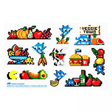 invader veggie stickers sheet showing 11 stickers based on invaders that were installed in veggietown by invader