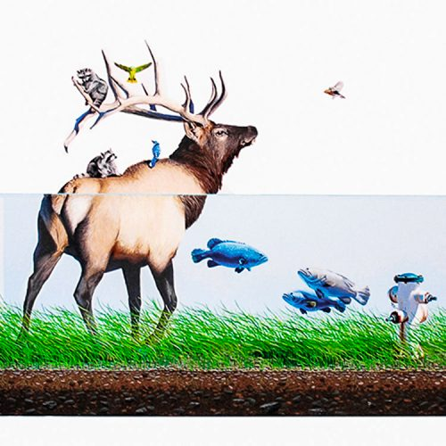 josh keyes evacuation print showing detail in middle of deer fish and other wildlife
