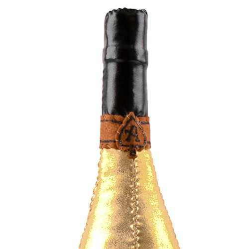 lucy sparrow ace of spades champagne bottle showing top with ace symbol