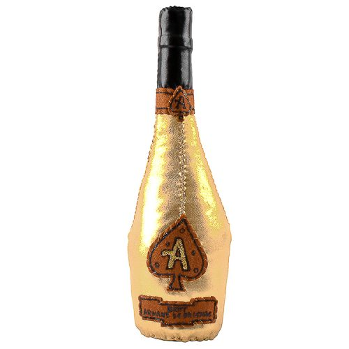 lucy sparrow ace of spades champagne bottle sculpture