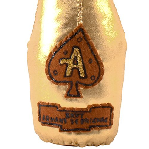 lucy sparrow ace of spades champagne bottle showing front of bottle with armand de brignac label