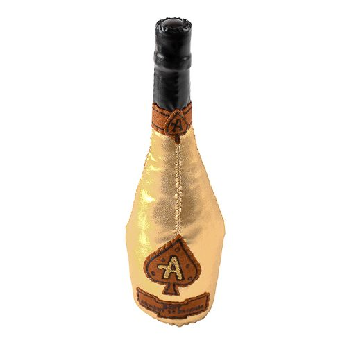 lucy sparrow ace of spades champagne bottle from top view