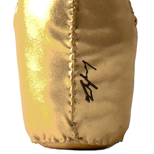 lucy sparrow ace of spades champagne bottle showing back of bottle with lucy sparrow signarure