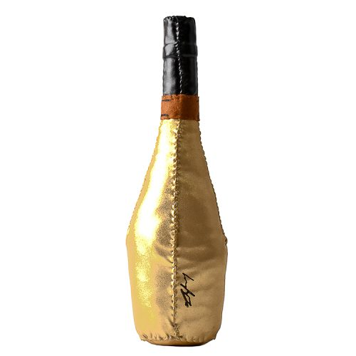 lucy sparrow ace of spades champagne bottle showing bottle from behind