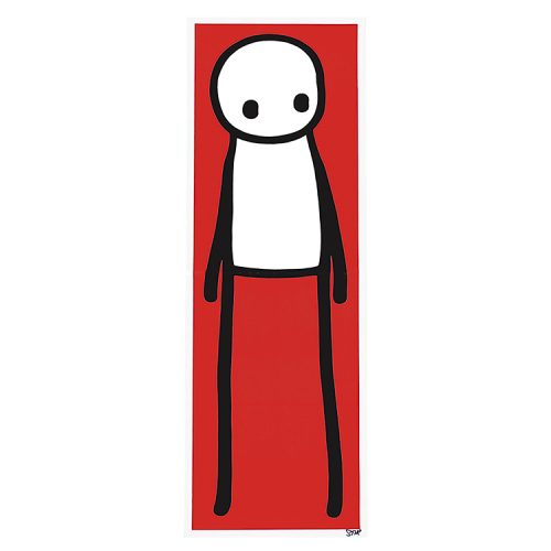 stik standing figure lithograph in red color