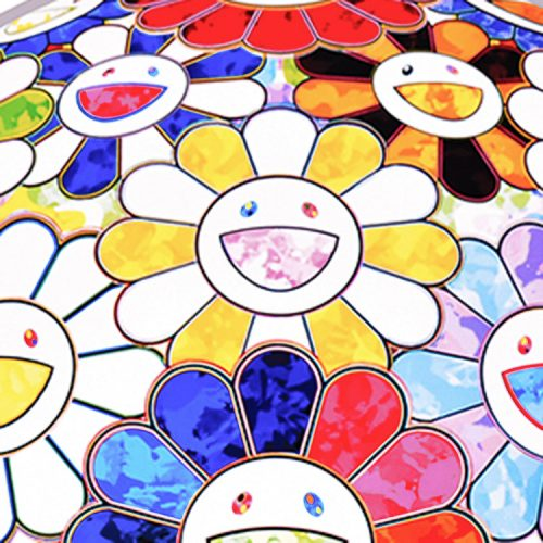 takashi murakami scenery with a rainbow in the midst print showing detail with yellow and white smiley face flower