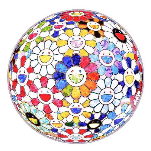 takashi murakami scenery with a rainbow in the midst print