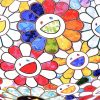 takashi murakami scenery with a rainbow in the midst print showing detail with many colorful smiley face flowers