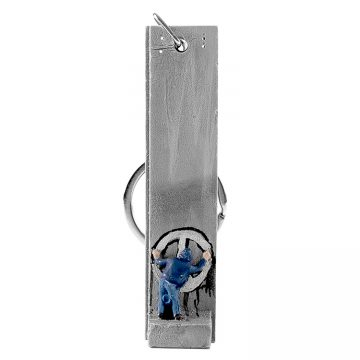 banksy graffiti peace sign keychain sculpture in white