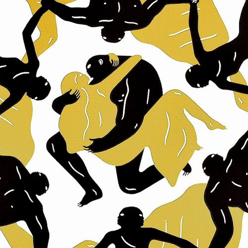 cleon peterson endless sleep screenprint showing middle detail with couple embracing