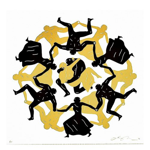 cleon peterson endless sleep screenprint in white, black and gold