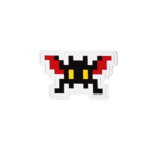 invader sticker black with red wings