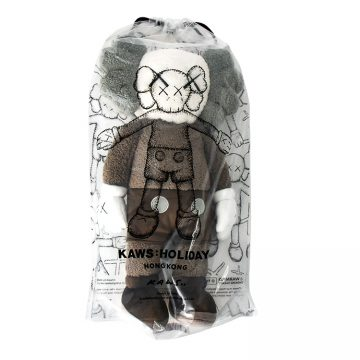 kaws holiday hong kong brown plush in package from front