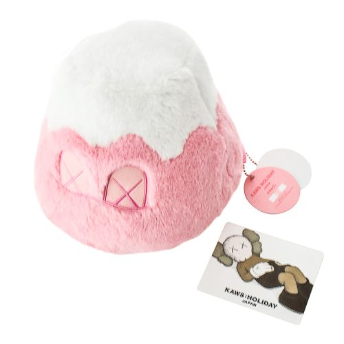 kaws mount fuji pink plush with tag shown with holiday japan info card