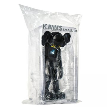 kaws small lie black in sealed package side view