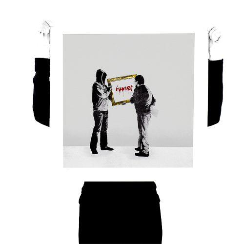 person holding up kunstrasen ist das kunst hand finished kunst screenprint for scale