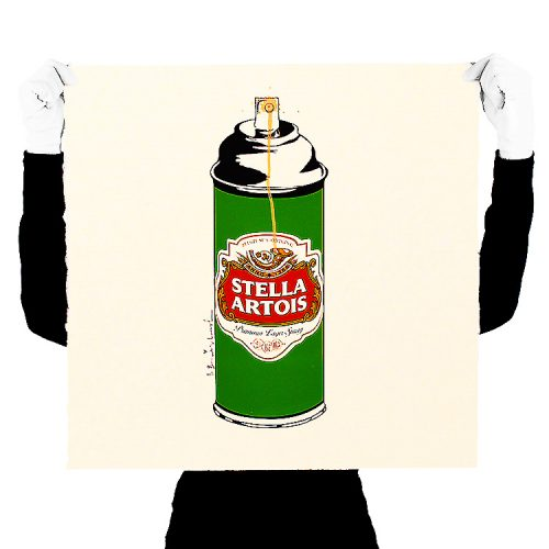 person holding mr brainwash stella spray can print for scale
