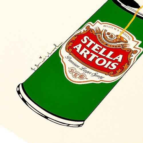 mr brainwash stella spray can print showing print detail with stella artois label