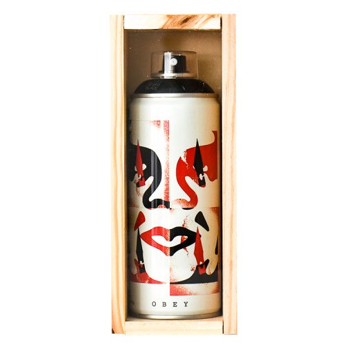 shepard fairey cut it up spray can front view in custom wood display case