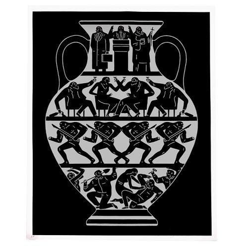 cleon peterson trump print in black and platinum inks