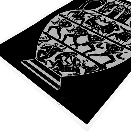 cleon peterson trump print in black and platinum showing cleon peterson signature