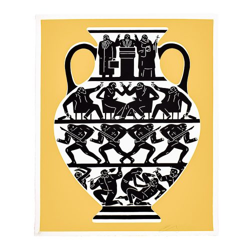 cleon peterson print trump in gold and white