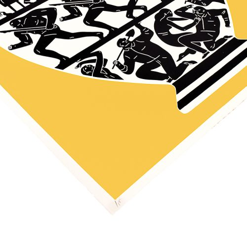cleon peterson print trump in gold and white showing left side bottom with edition number
