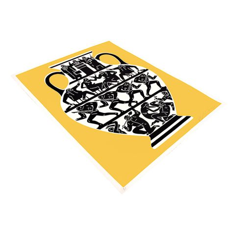 cleon peterson print trump in gold and white showing left side of print
