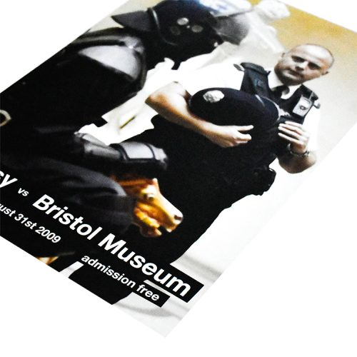 banksy vs bristol museum copper poster showing right side corner with admission free and datestext