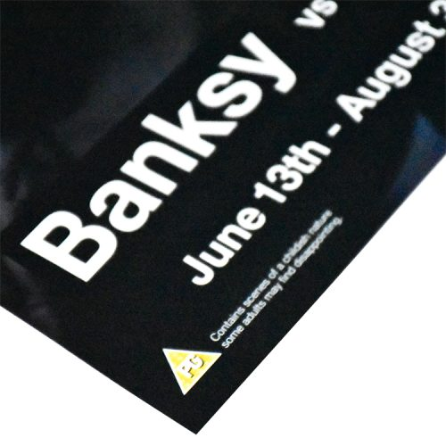 banksy vs bristol museum copper poster corner left with banksy text and show dates