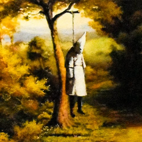 banksy vs bristol museum klansman showing middle with klansman hanging from tree