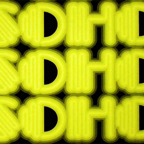 ben eine soho printers proof print showing middle detail of neon soho letters