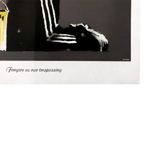 banksy forgive us our trespassing showing bottom with text of artwork name