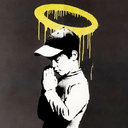 banksy forgive us our trespassing showing middle with boy praying and yellow painted halo