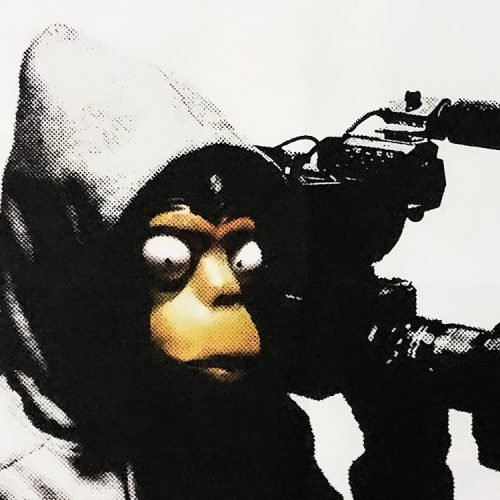 banksy forgive us our trespassing showing middle with banksy in monkey mask holding camera